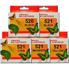PGI520 CLI521 Canon Ink Cartridges Compatible x 5 (Full Set)