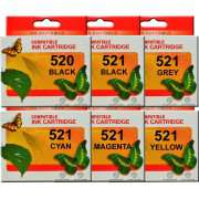 PGI 520 CLI 521 Canon Ink Cartridges Compatible x 6 (Incl Grey)