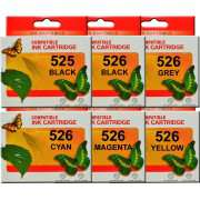 PGI525 CLI526 Canon Ink Cartridges Compatible x 6 (Includes Grey)