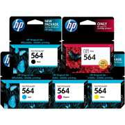 Genuine HP 564 Ink Cartridge x 5 (Including Photo Black)