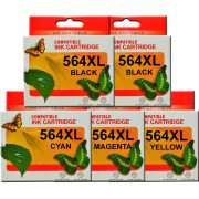 HP 564XL Ink Cartridge Compatible x 5 (Extra Black)