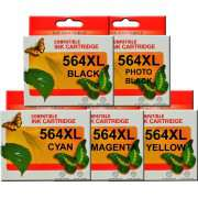 HP 564XL Ink Cartridge Compatible x 5 (Including Photo Black)