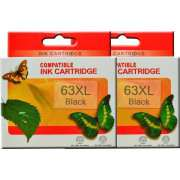 HP63 XL BLACK Ink Cartridge Remanufactured x 2