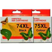 HP 74XL HP 75XL Ink Cartridges Remanufactured (Full Set)