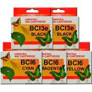 BCI3e BCI6 Canon Ink Cartridges Compatible x 5 (2 x BCI3e BK)