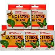 LC137XL LC135XL Brother Ink Cartridge x 5 (Extra Black)