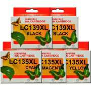 LC139XL LC135XL Brother Comp. Ink Cartridge x5 (Extra Black)