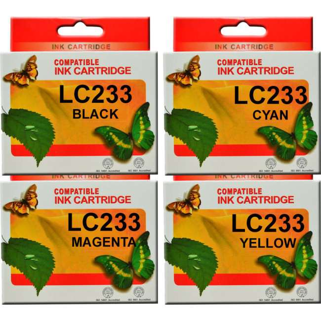 LC233 Brother Ink Cartridge Compatible (Full Set)