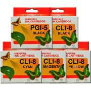 PGI5 CLI8 Canon Ink Cartridges Compatible x 5 (Full Set)