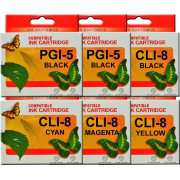 PGI5 CLI8 Canon Ink Cartridges Compatible x 6 (Extra Black)