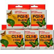 PGI5 CLI8 Canon Ink Cartridges Compatible x 5 (2 x PGI 5 Black)